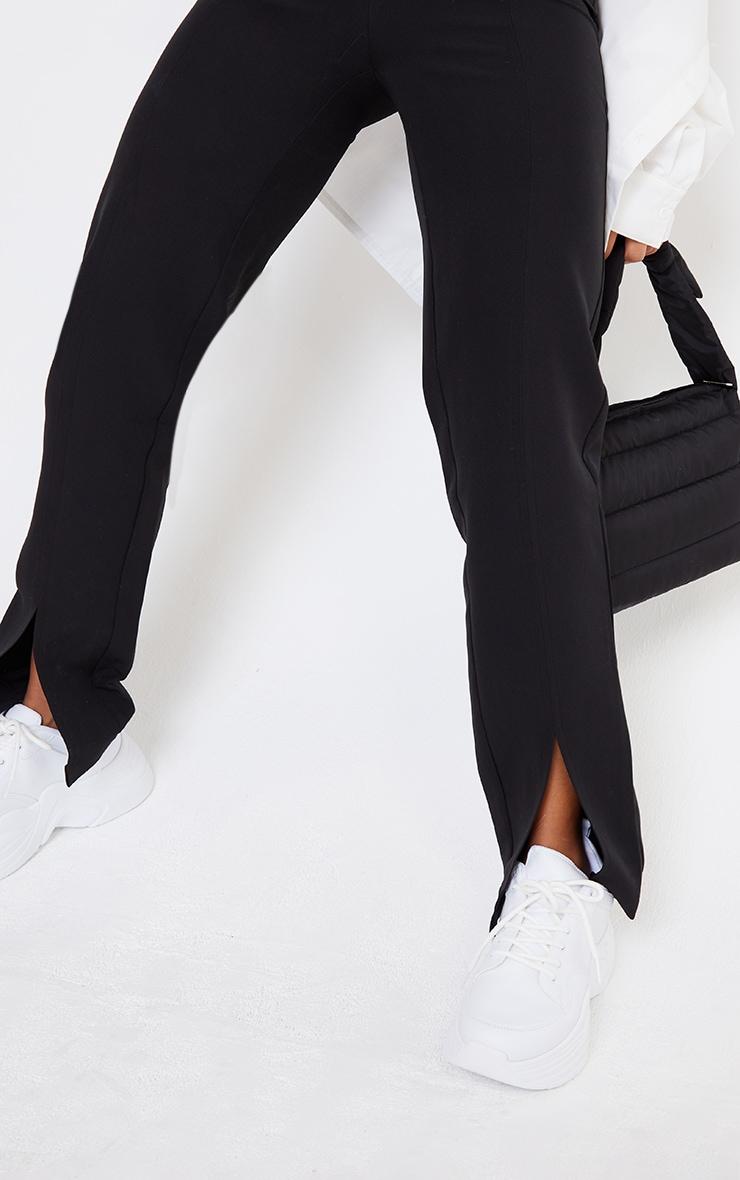 Black Woven Straight Leg Split Hem Trousers 4