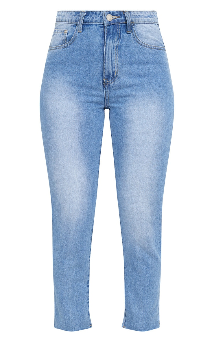 Mid Wash Extreme Back Distressed Rip Straight Leg Jean 3