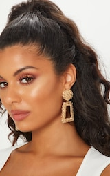 Gold Chunky Textured Square Drop Door Knocker Earrings 1
