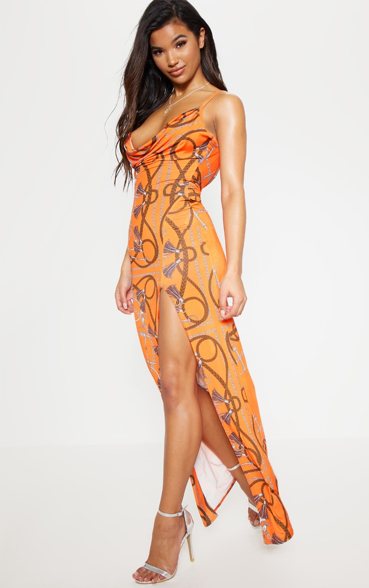 Orange Chain Print Cowl Neck Maxi Dress 1