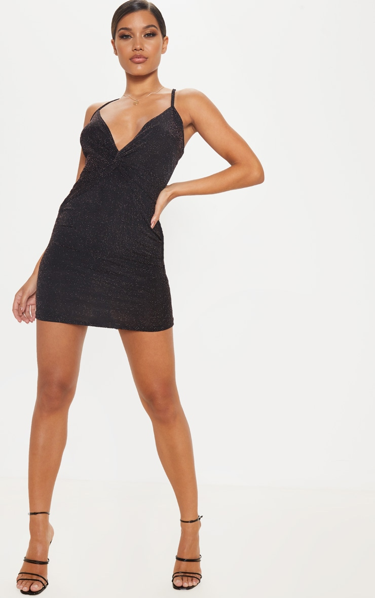 Black sheer strappy textured glitter bodycon dress dresses are
