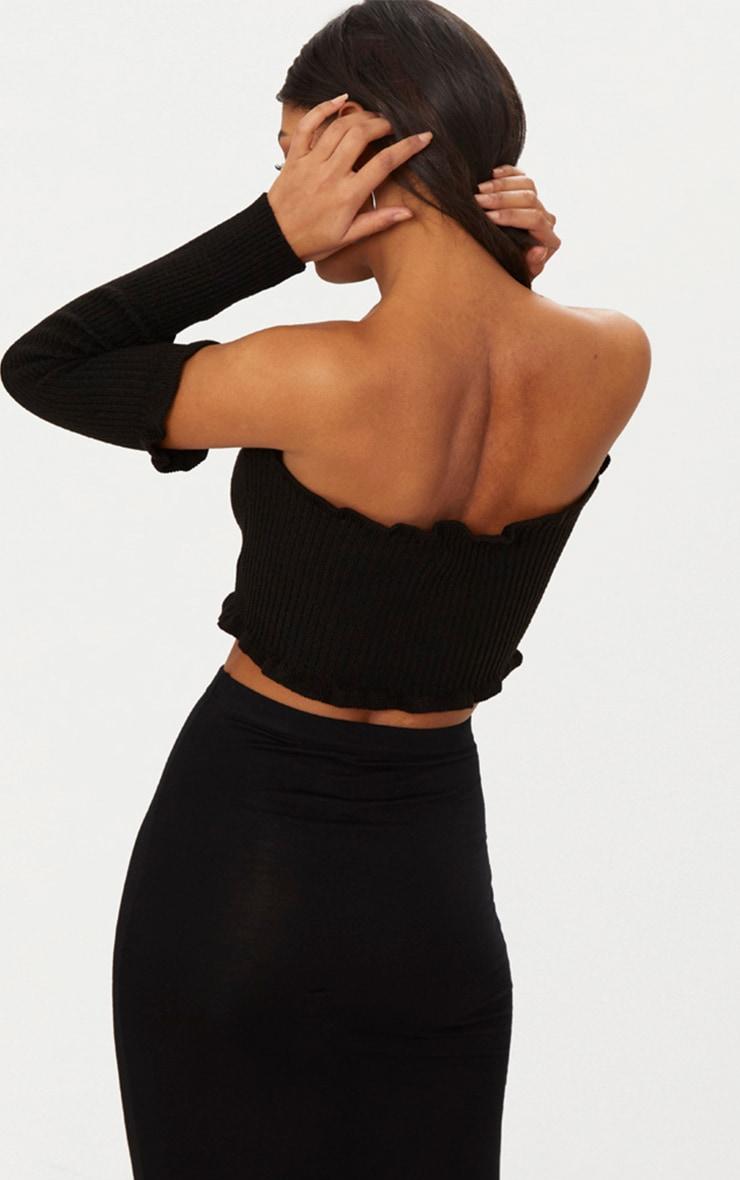 Black Ruffle Detail Knit Bardot Lace Up Jumper 2