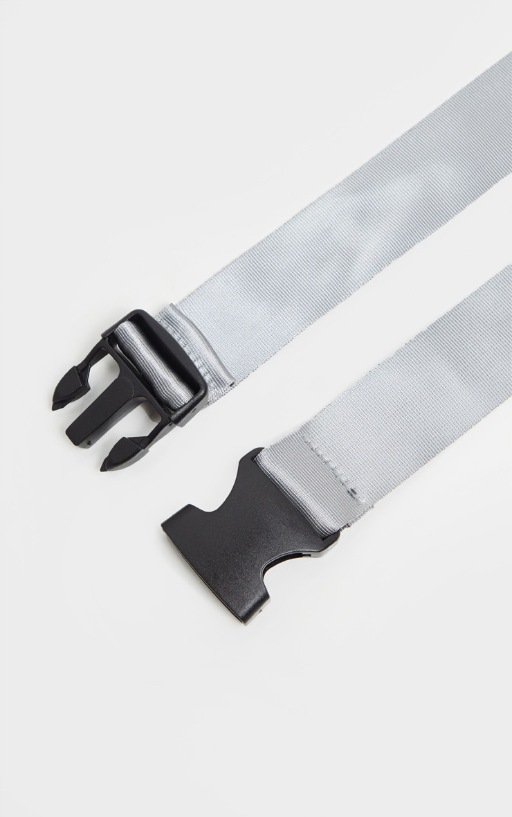 Lead Grey Slider Buckle Tape Belt 3