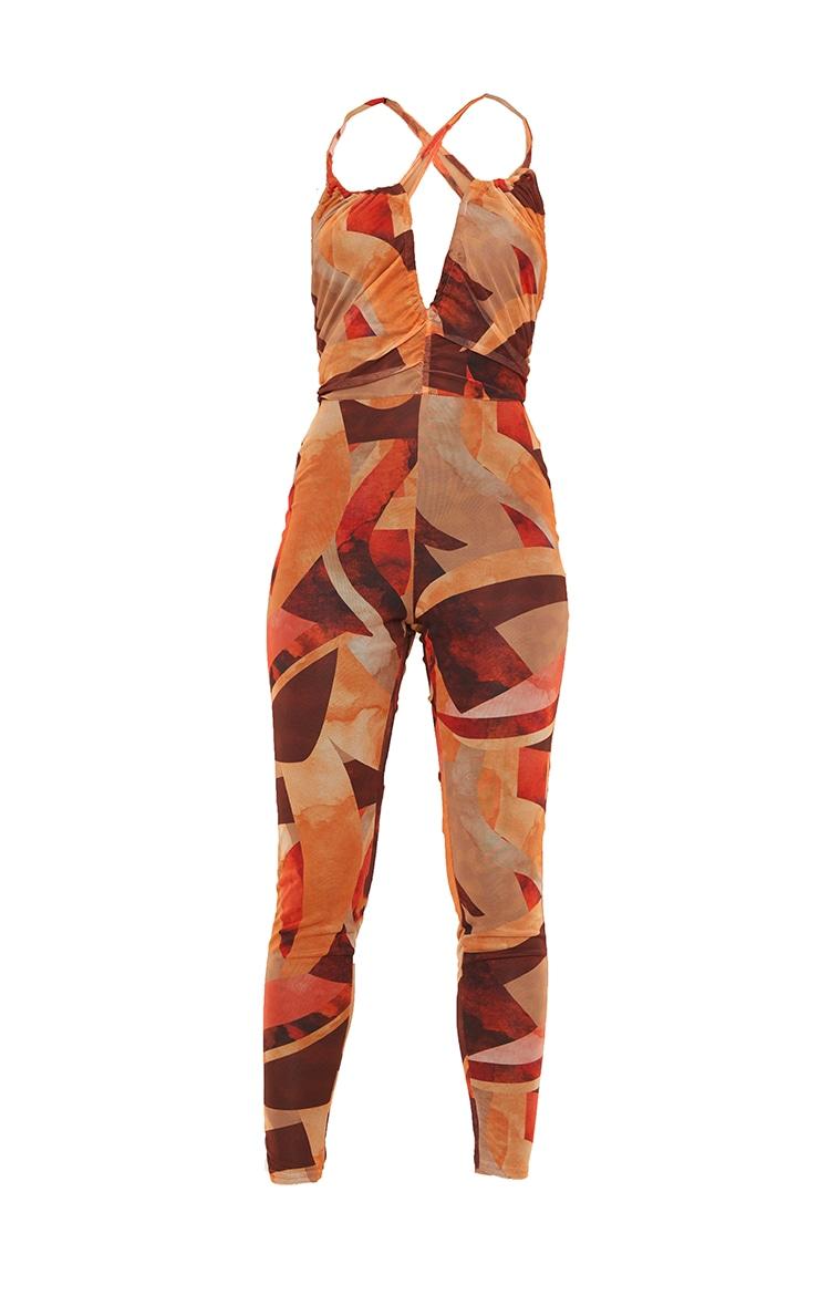 Orange Abstract Print Keyhole Mesh Jumpsuit 5