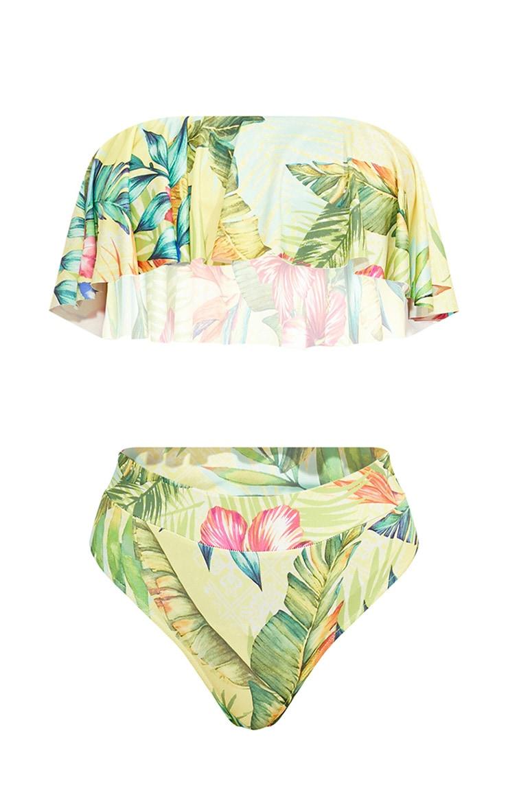Yellow Tropical Frill Strapless Bikini Set 3