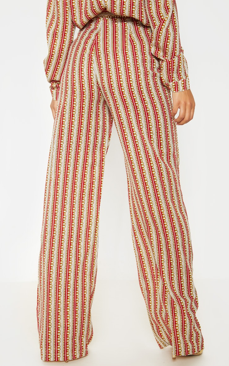 Red Chain Print Wide Leg Pants 4