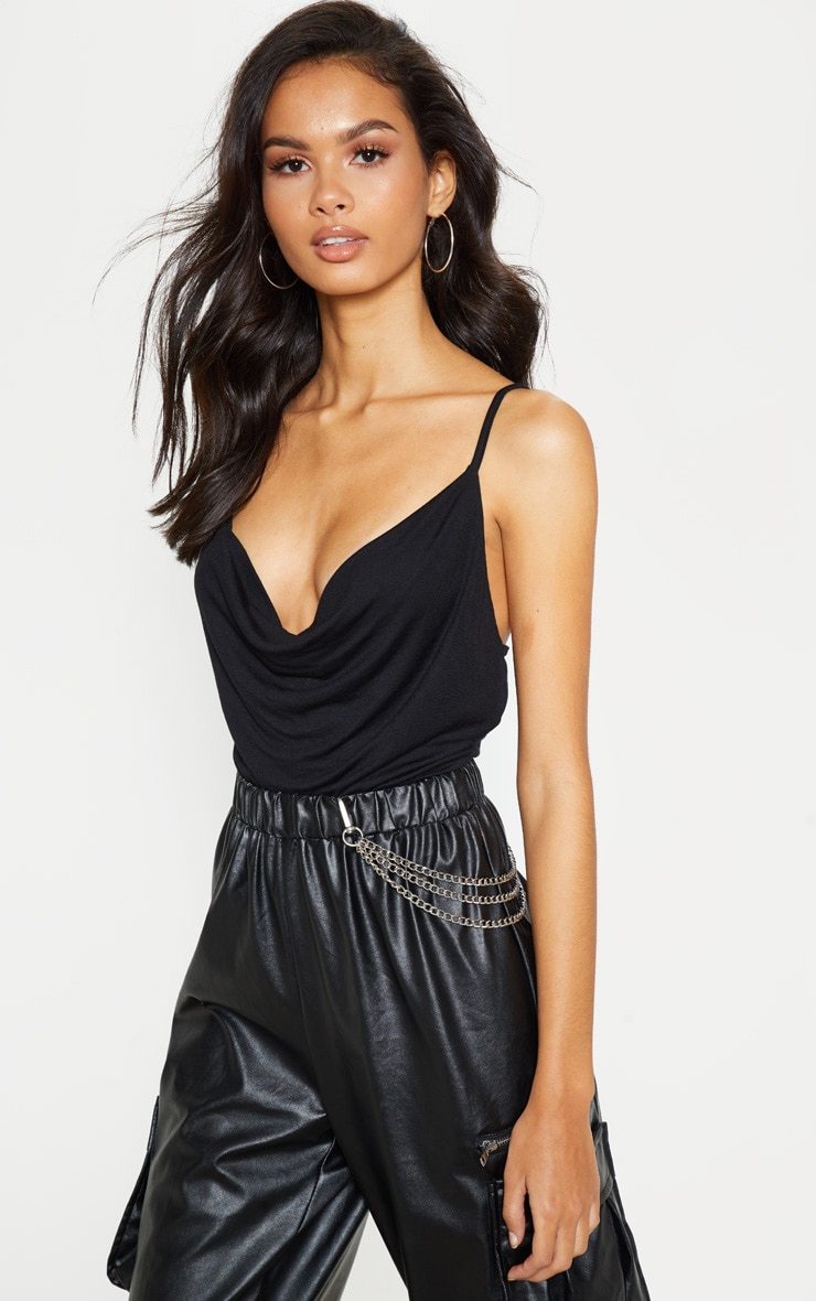 Black Jersey Cowl Neck Cami Top 1