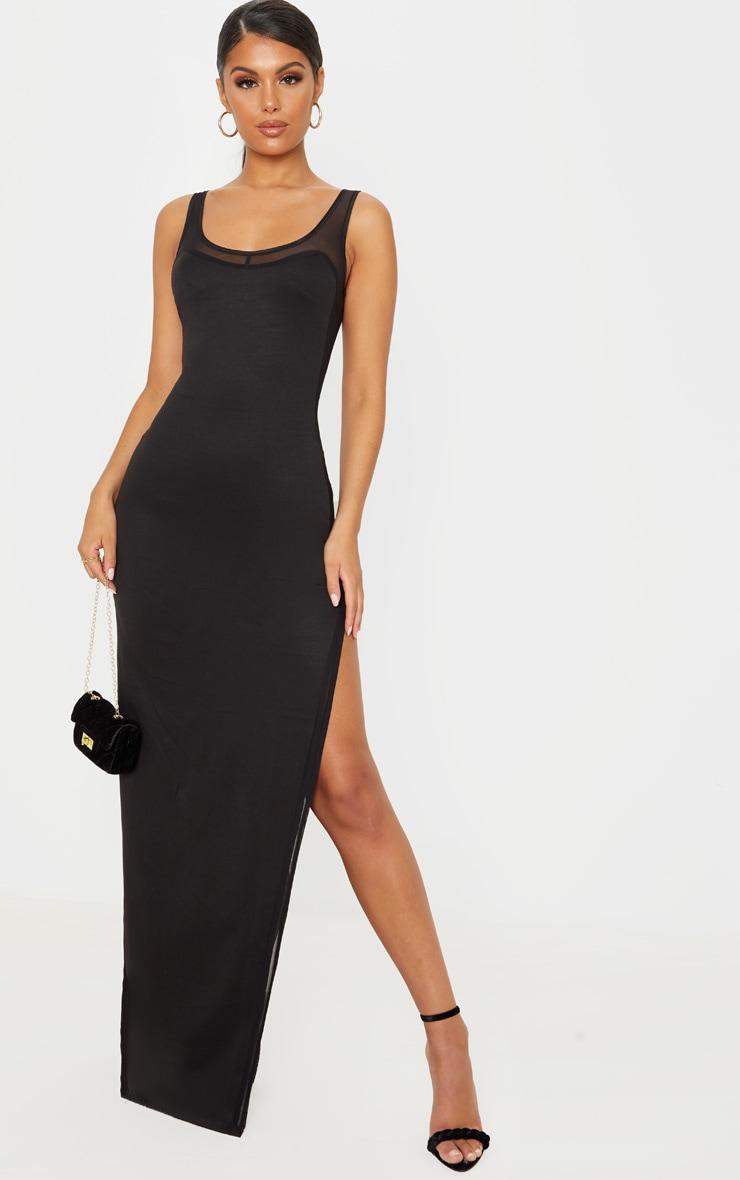 Black Sleeveless Mesh Insert Split Detail Maxi Dress 1