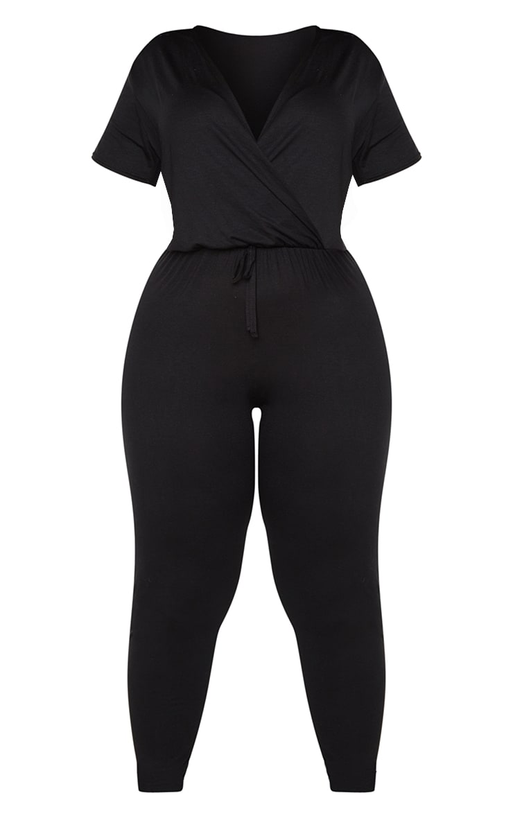 Plus Black Jersey Wrap Jumpsuit 5