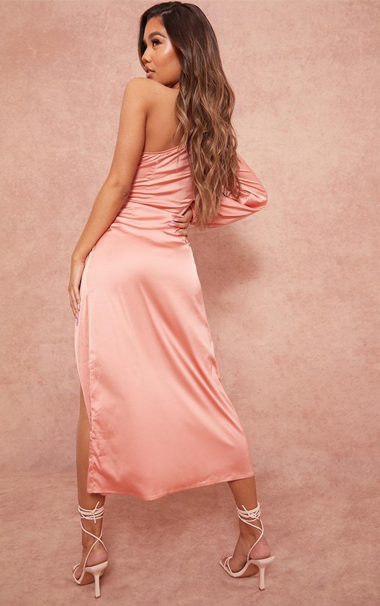 Peach One Shoulder Tie Detail Satin Midaxi Dress 2