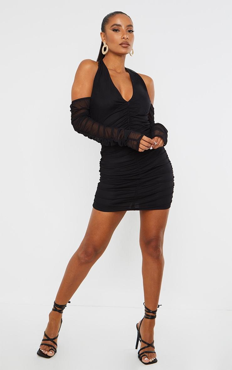 Black Halterneck Long Sleeve Mesh Ruched Bodycon Dress 3