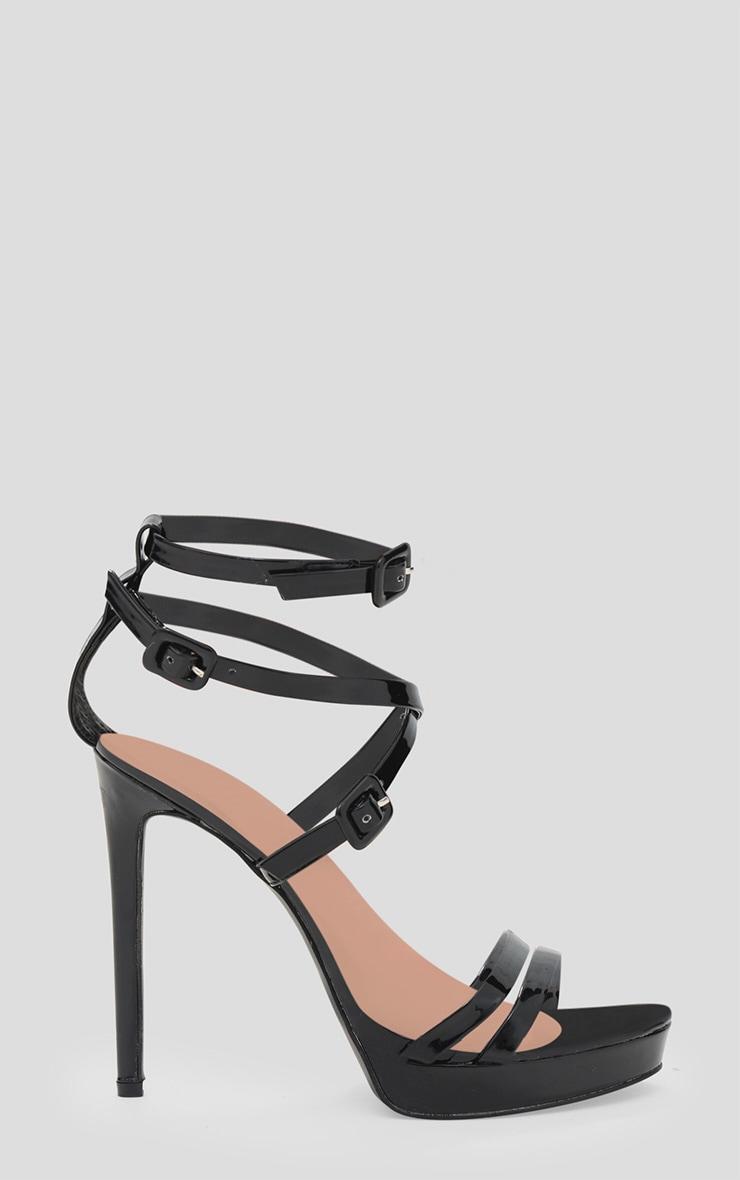 Black PU Multi Buckle Heeled Sandal 3