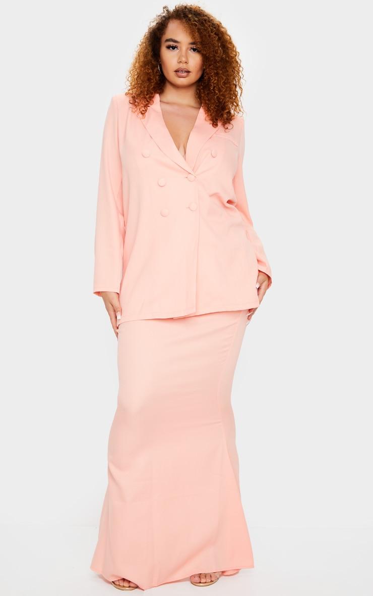 Plus Peach Woven Maxi Skirt 1