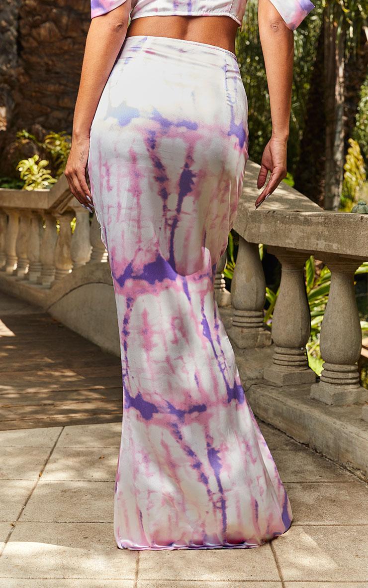 Pink Tie Dye Print Maxi Skirt 3
