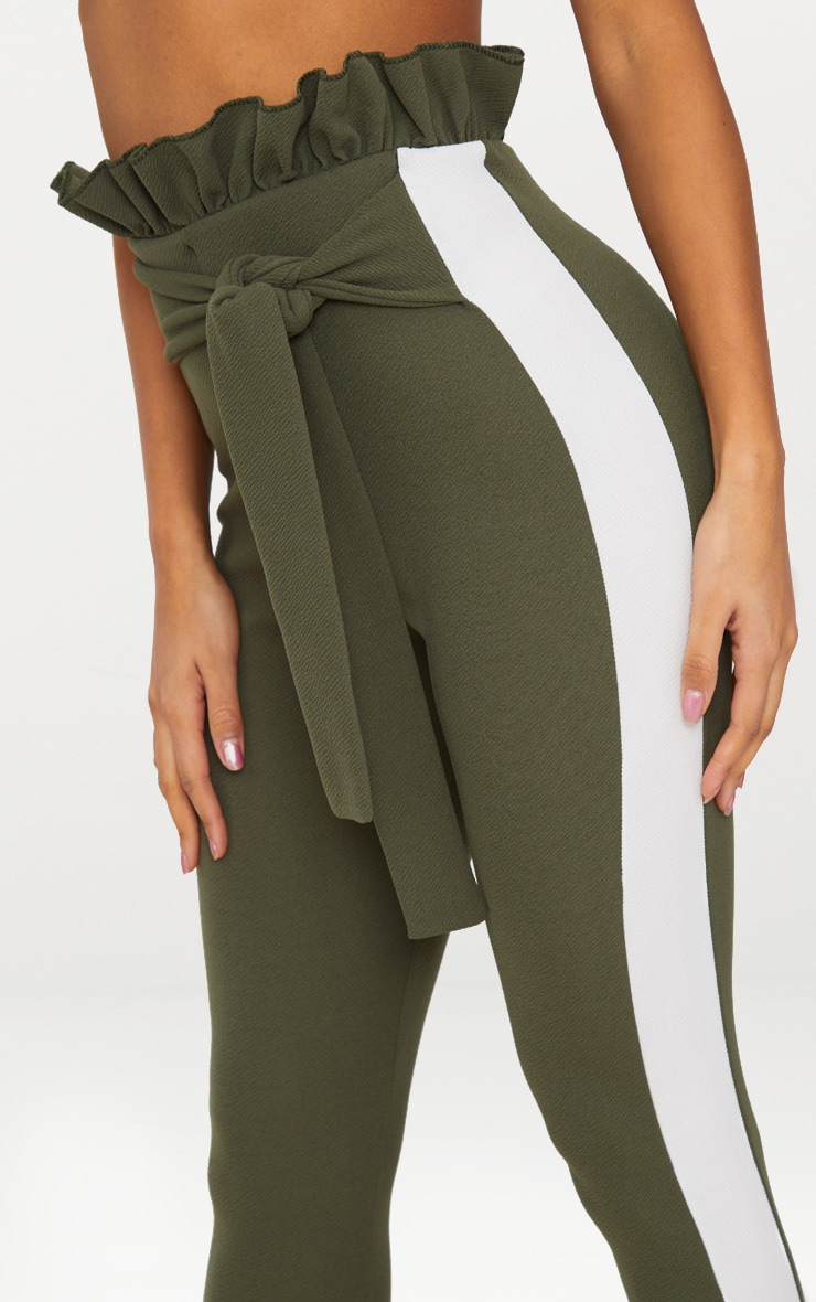 Khaki Side Stripe Paperbag Skinny Trousers 5