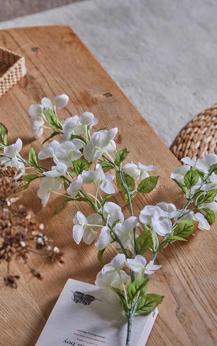 White Silk Bowing Cherry Blossom Stem Artificial Flower 2