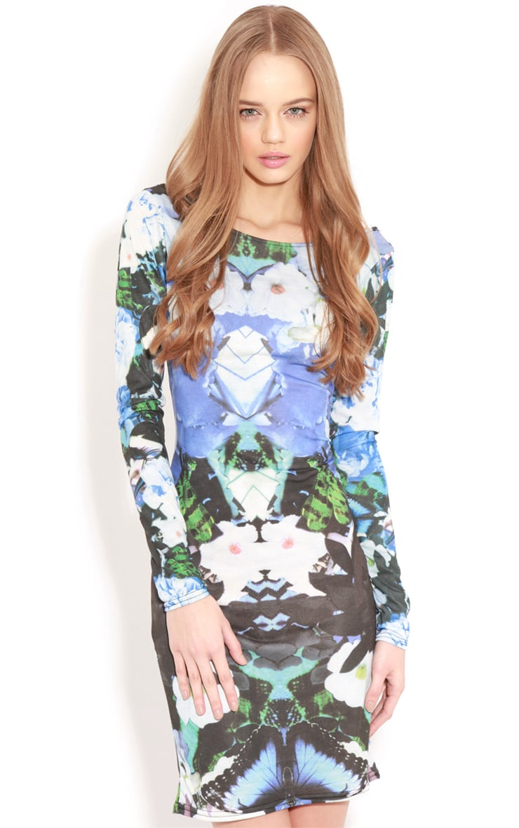 Cherise Blue Floral Long Sleeve Bodycon Dress 1