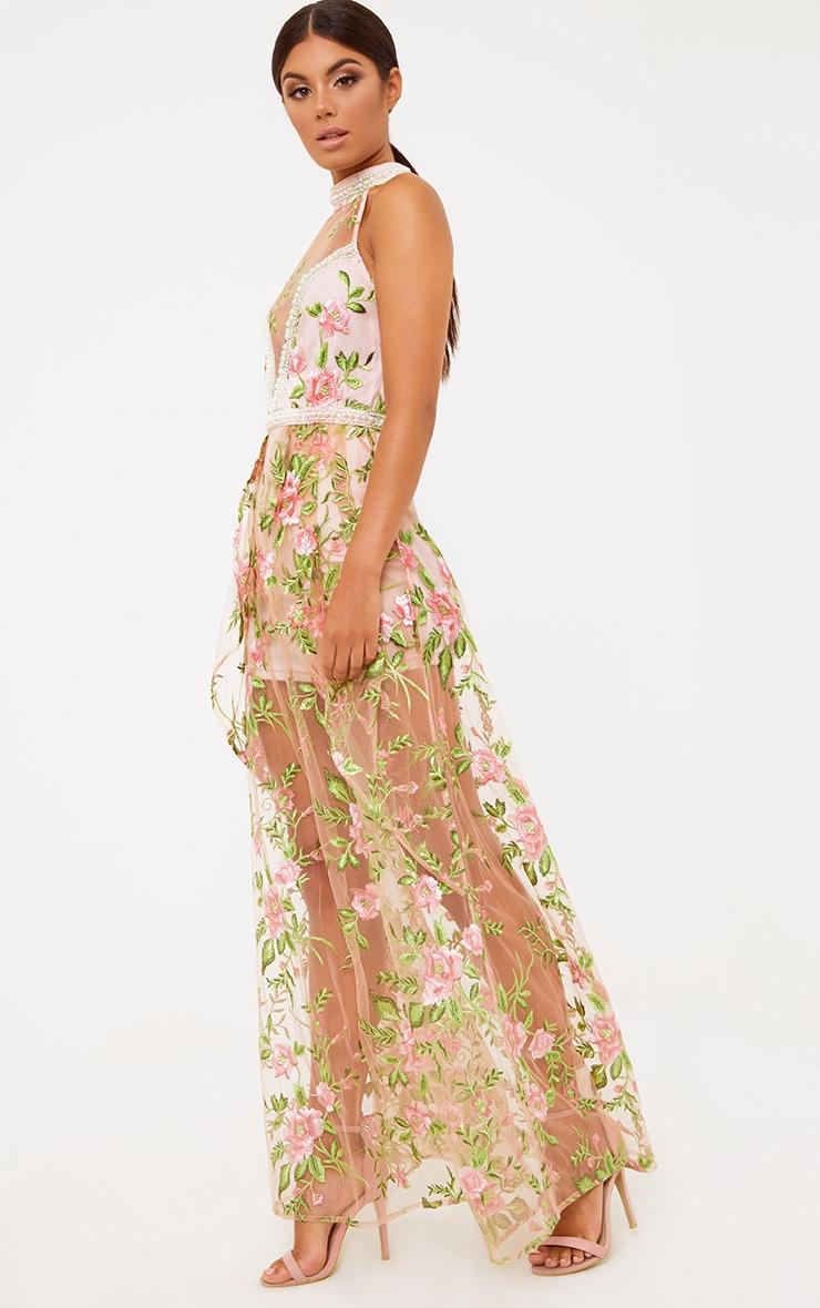 Premium Blush Embroidered Lace Maxi Dress 5