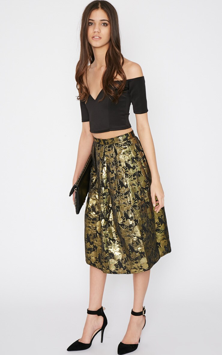 Iva Gold Floral Print A Line Skirt -12 5