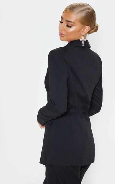 Black Button Detail Fitted Blazer