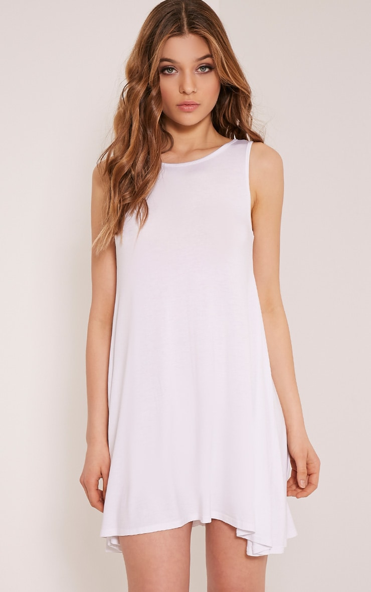 Basic White Sleeveless Swing Dress 1
