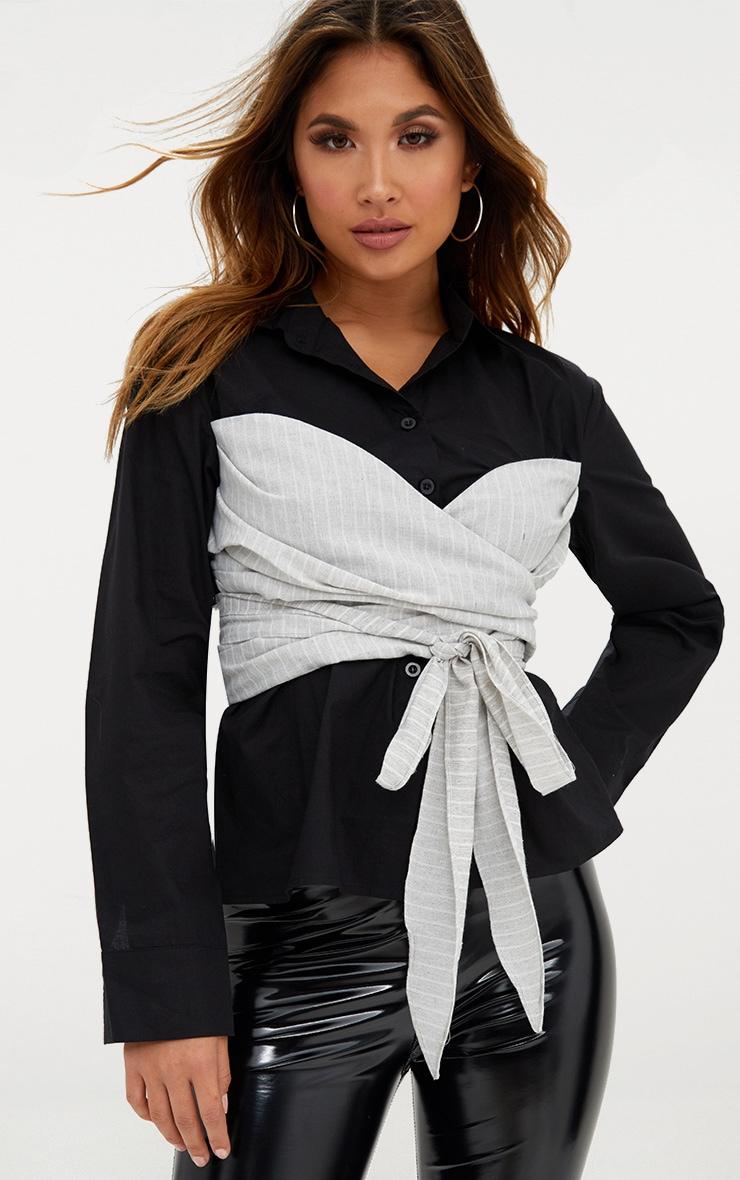 Black Bustier Stripe Wrap 2 in 1 Shirt  1
