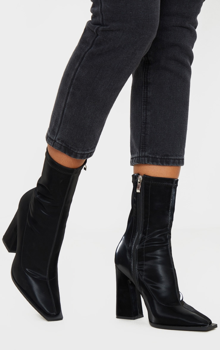 Black Square Toe Block Heel Ankle Sock Boot 1