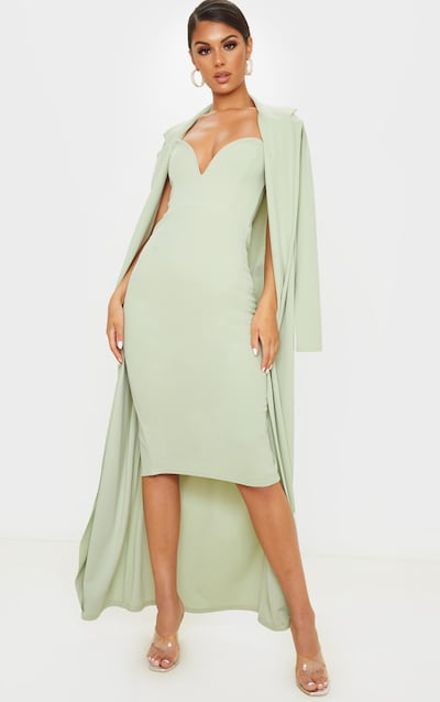 Sage Khaki V Bar Plunge Bandeau Midi Dress