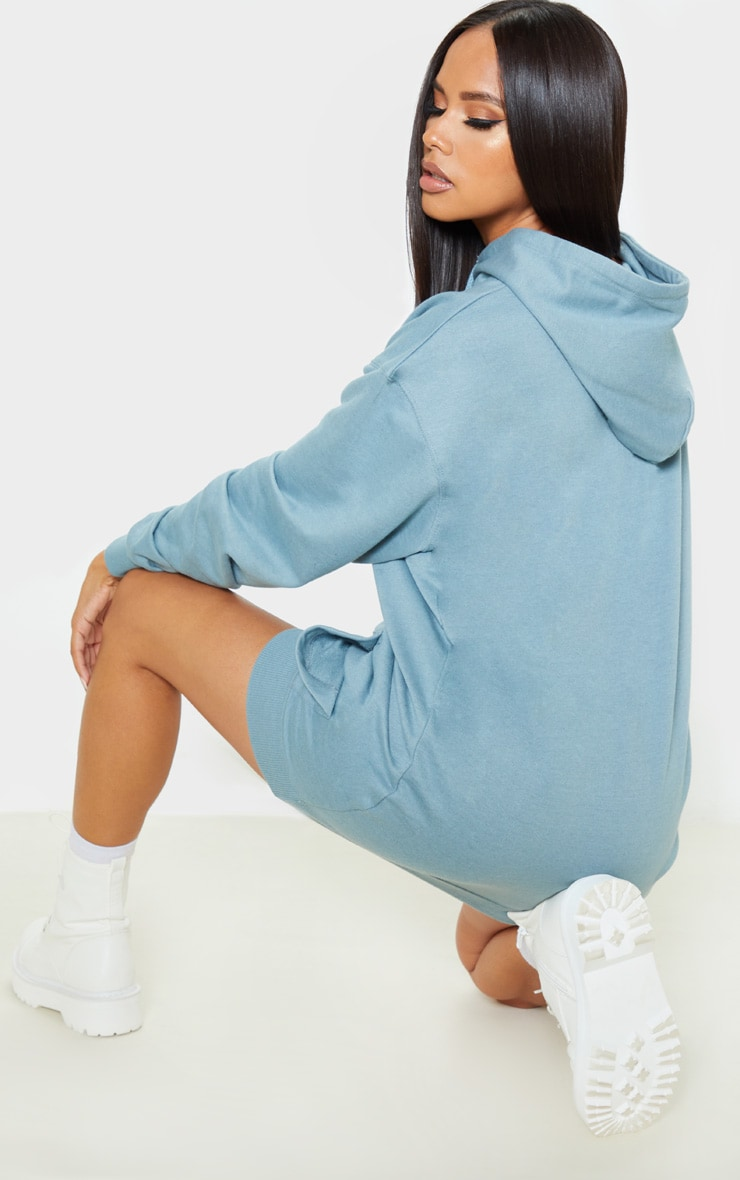 Lead grey PRETTYLITTLETHING Slogan Oversized Hoodie Dress 2