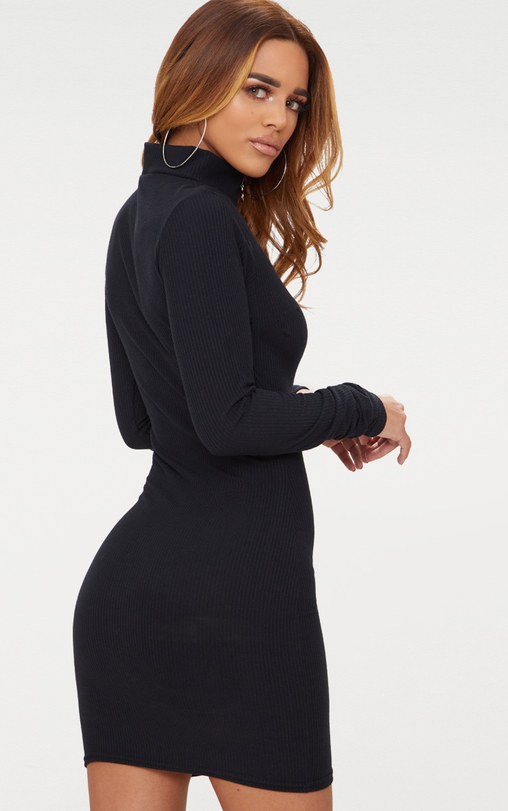 Petite Black Ribbed Zip Detail High Neck Bodycon Dress 2