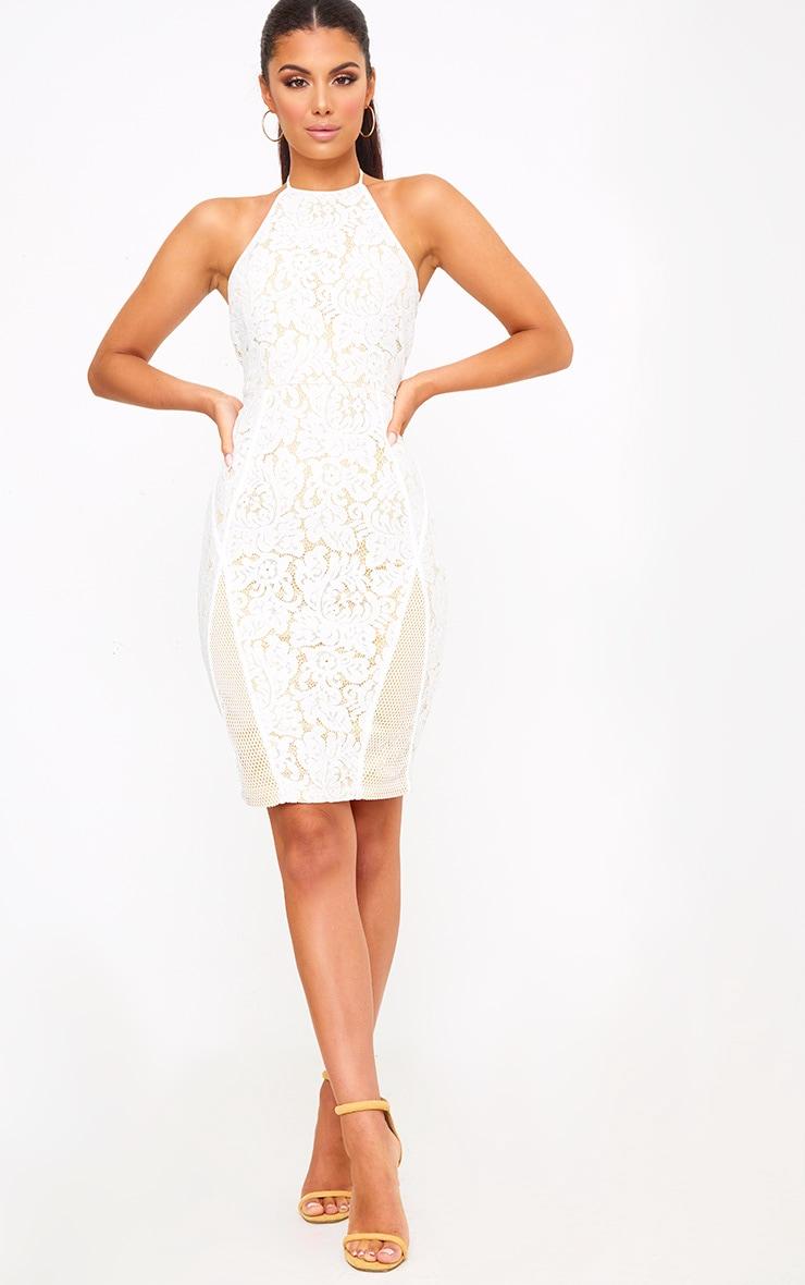 White Lace Fishnet Panel Halterneck Midi Dress 3