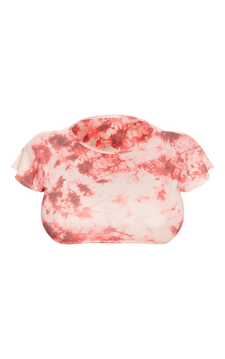 Shape Red Tie Dye Extreme Crop T-Shirt 5