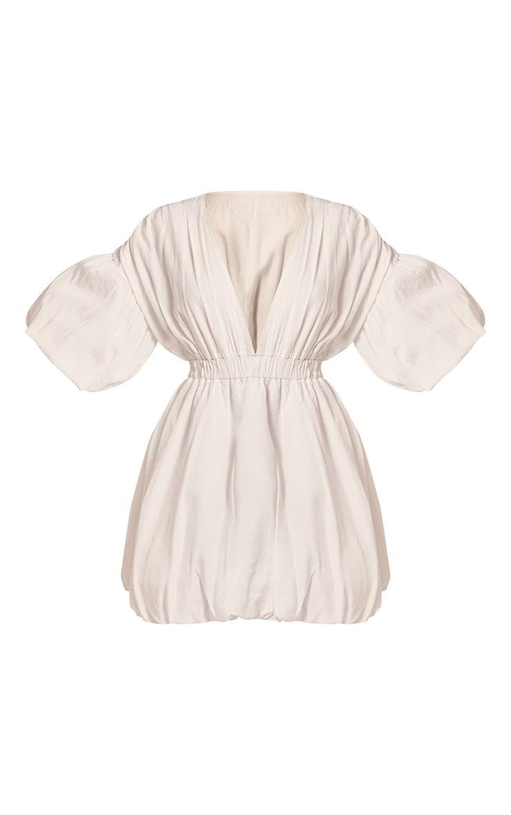 White Puff Sleeve Puffball Hem Shift Dress 5