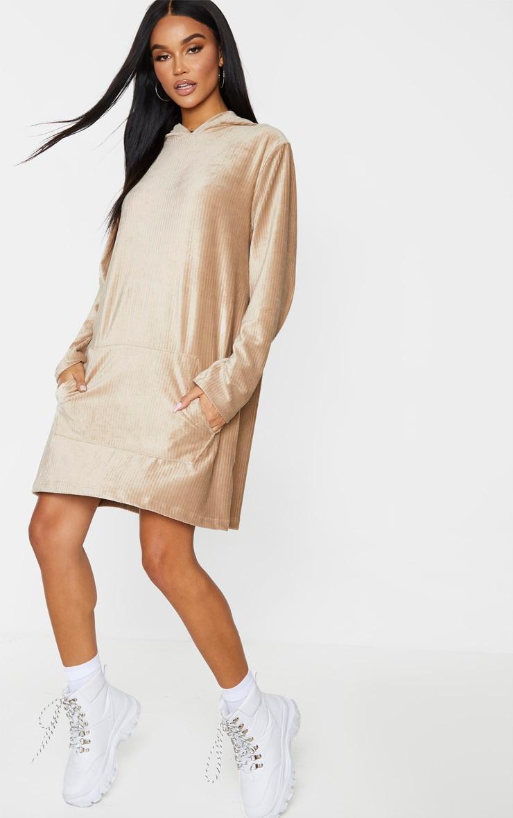 Beige Soft Rib Oversized Long Sleeve Hoodie Jumper Dress 3