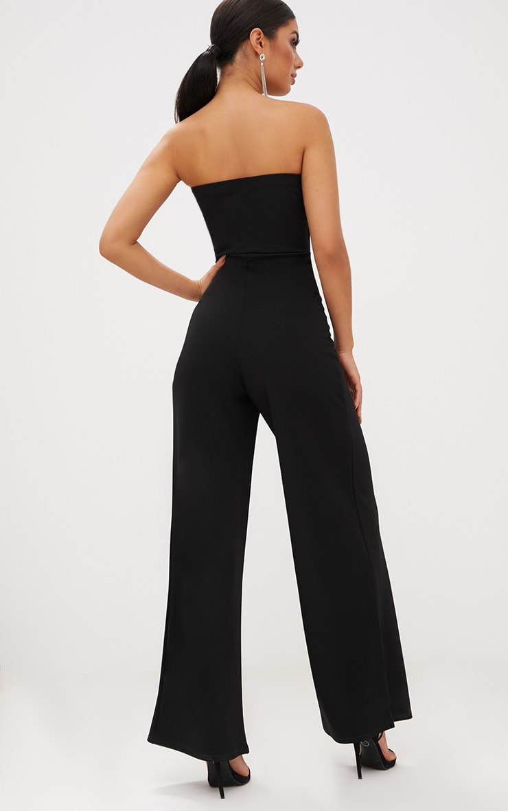 Black Crepe V Neck Bandeau Wide Leg Jumpsuit 2