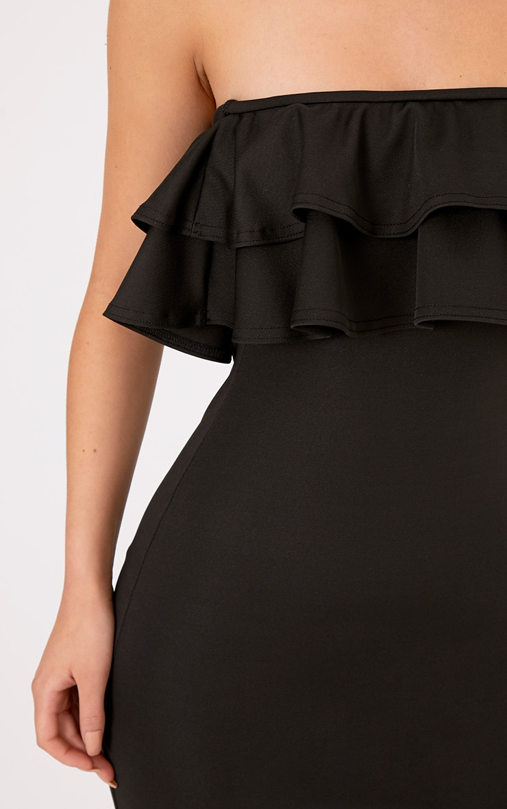 Angelique Black Frill Bandeau Maxi Dress 4