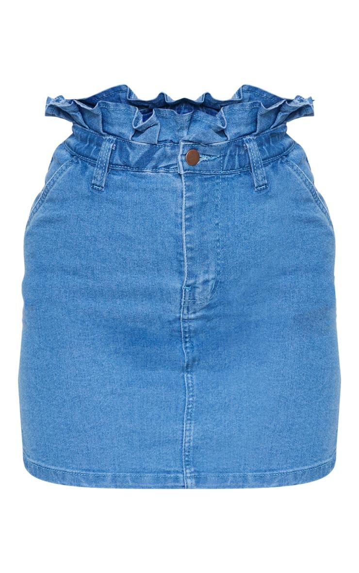 Light Wash Frill Paperbag Denim Skirt 3