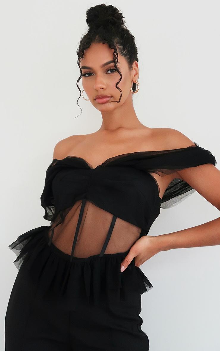Black Tulle Bardot Peplum Detail Long Top 1