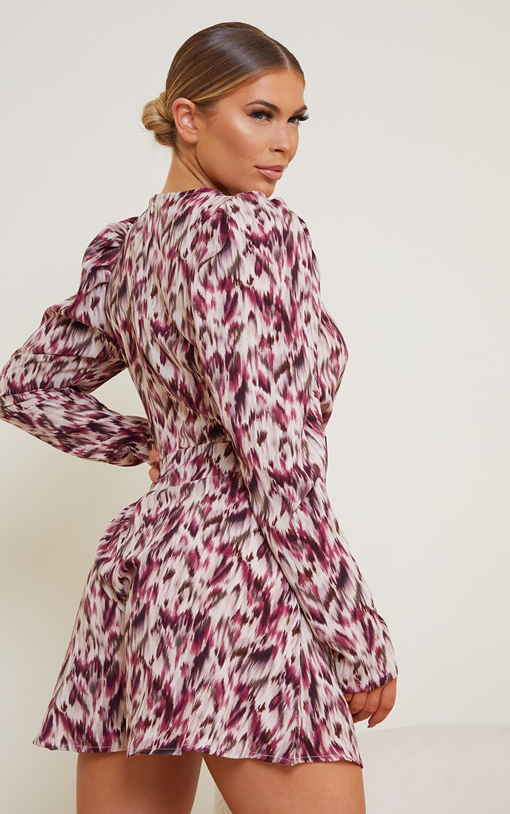 Purple Printed Puff Sleeve Cut Out Rompe 2
