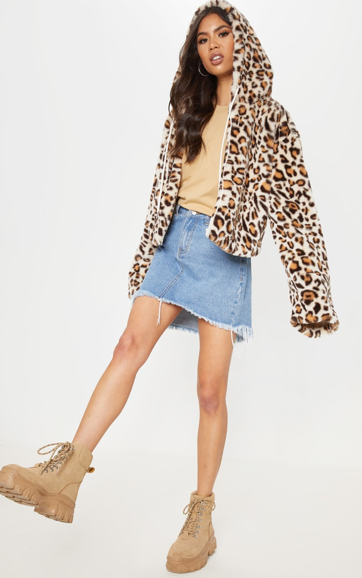 Stone Leopard Faux Fur Cropped Hooded Jacket 1