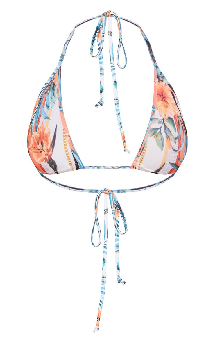 White Mixed Tropical Print Triangle Bikini Top 7