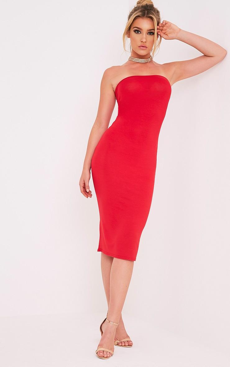 Basic robe midi bandeau rouge en jersey 5