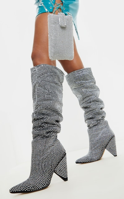 Diamante Cone Heel Over The Knee Slouch Boot