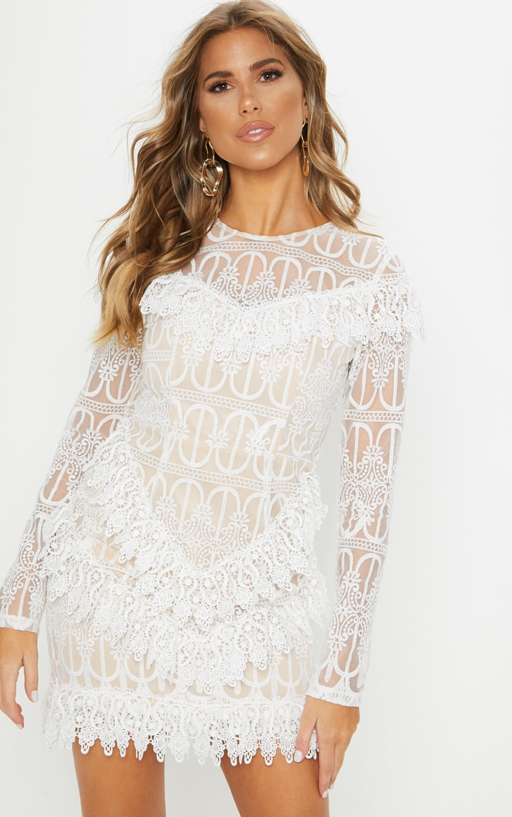 White Lace Frill Detail Long Sleeve Bodycon Dress 1