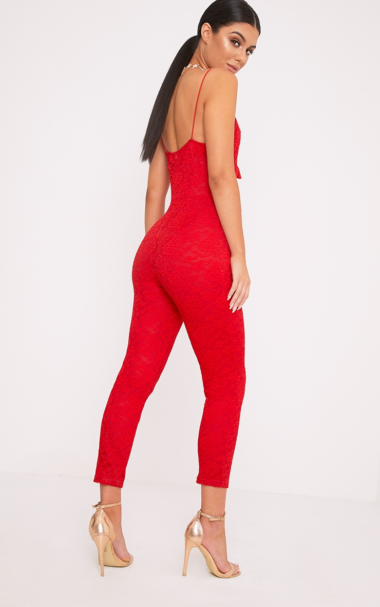 Kaidy Red Lace Frill Jumpsuit 2