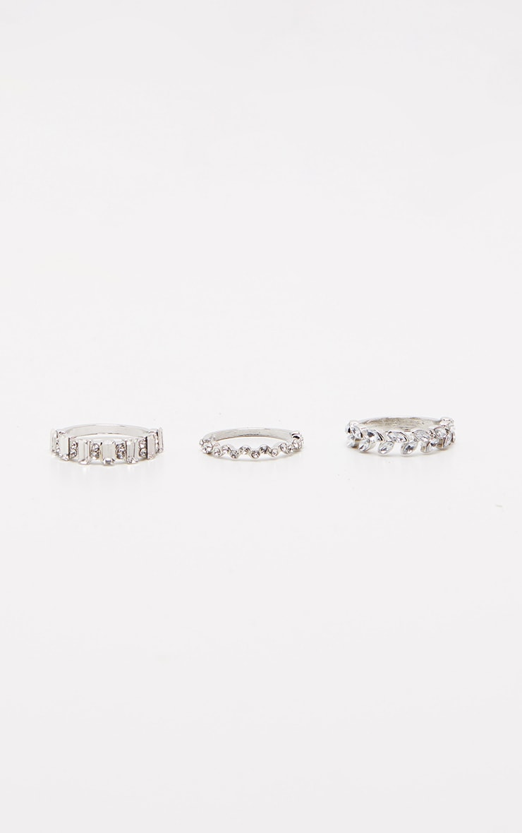 Silver Diamante Three Set Stacking Rings 3