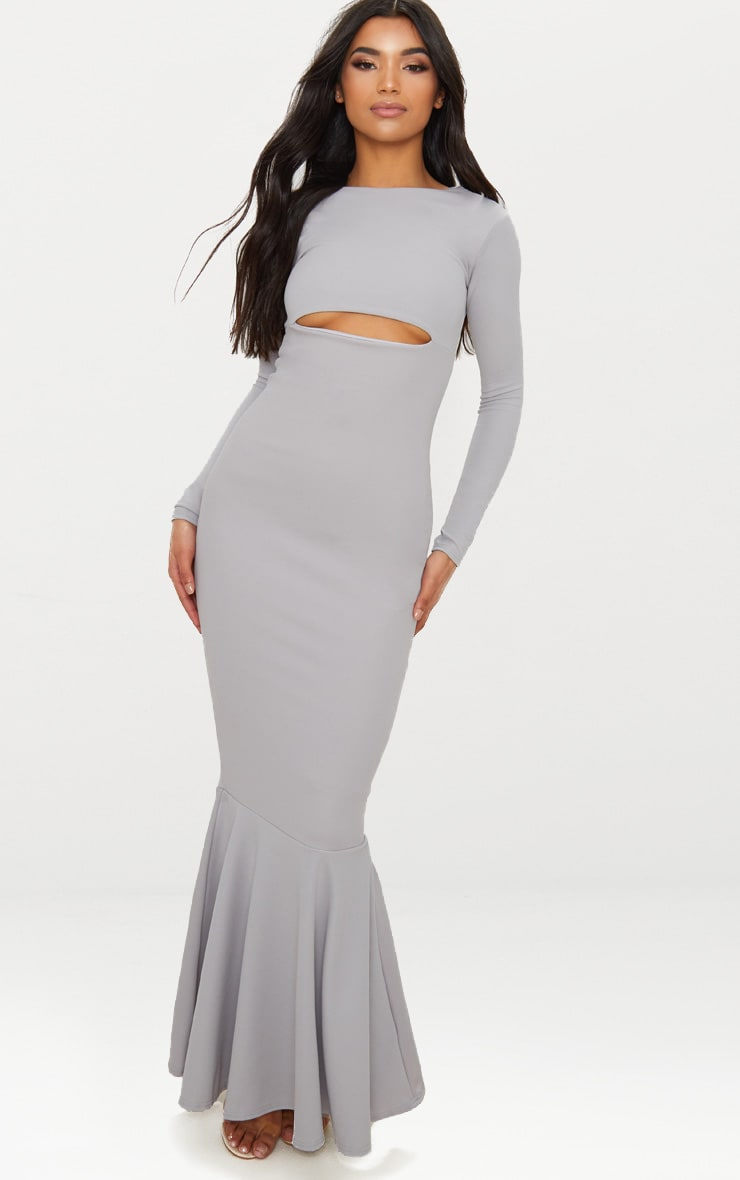 Ice Grey Cut Out Detail Long Sleeve Fishtail Maxi Dress 1