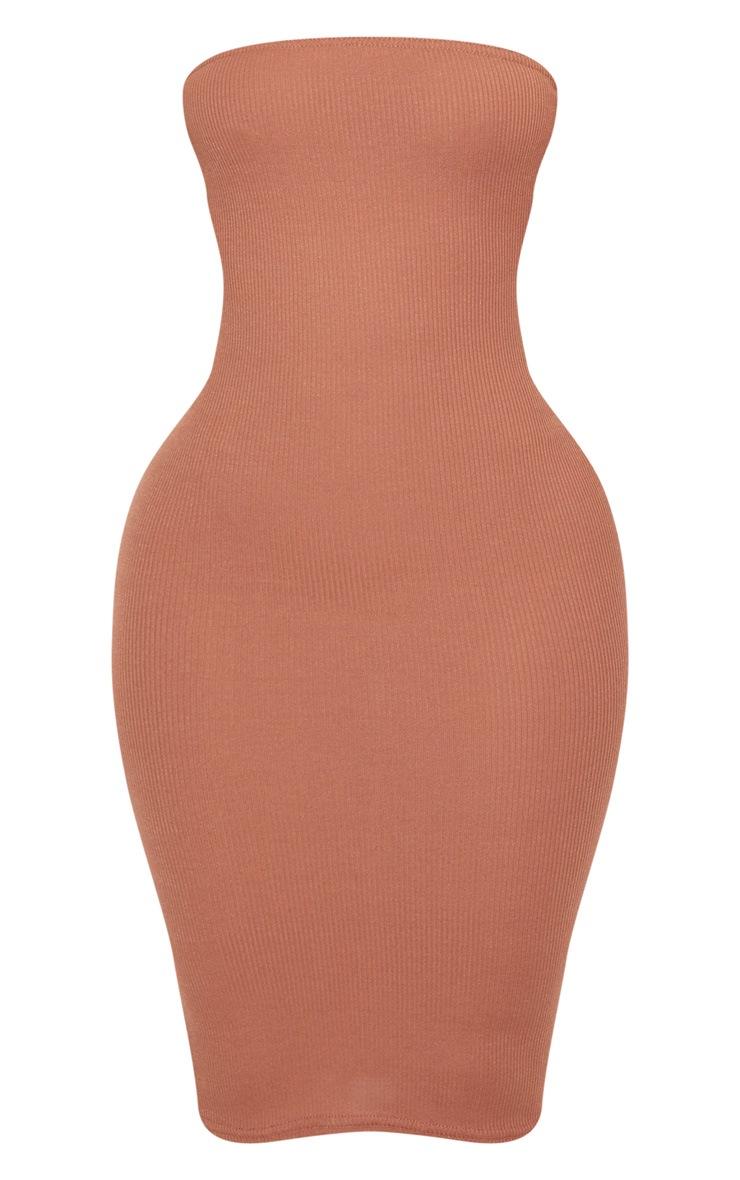 Shape Chocolate Ribbed Bandeau Midi Dress 3
