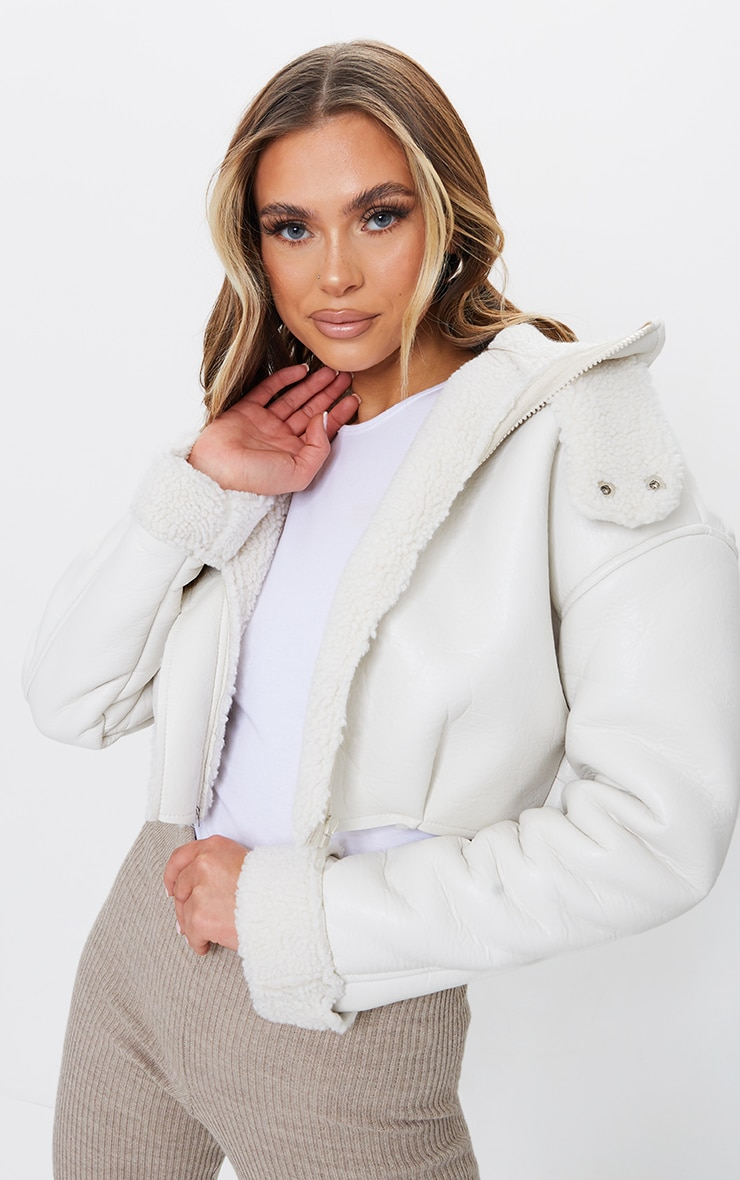 Cream Faux Leather Borg Lined Super Cropped Aviator Jacket 3