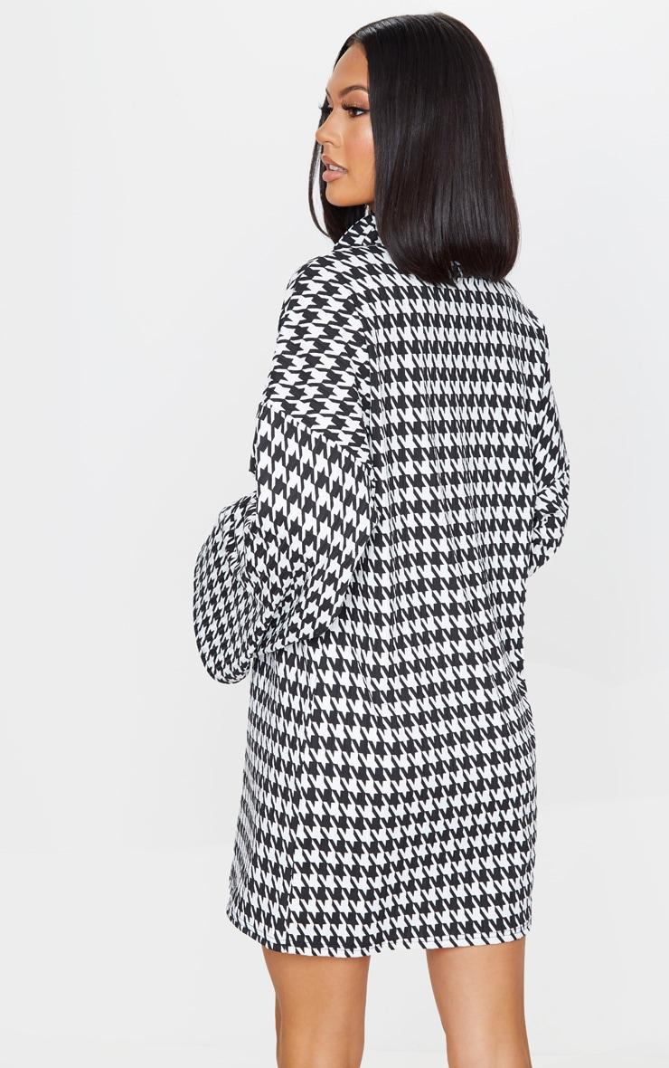 Black Dogtooth Print Rib Roll Neck Flare Sleeve Sweater Dress 2